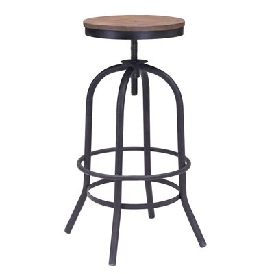 Zuo Twin Peaks Barstool in Distressed Natural