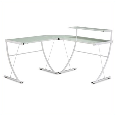 Zuo Fighter Desk with Frosted Tempered Glass Top