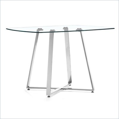 Zuo Lemon Drop Glass and Chrome Dining Table