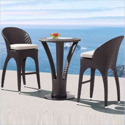 Zuo Corona Outdoor Table and Bar Chair Set