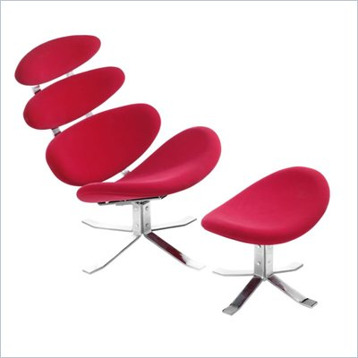 Zuo Petal Lounge Chair And Ottoman in Red