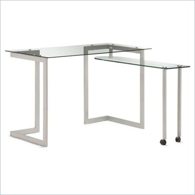 Zuo Thrower Tempered Glass Desk with Swing Leg Shelf
