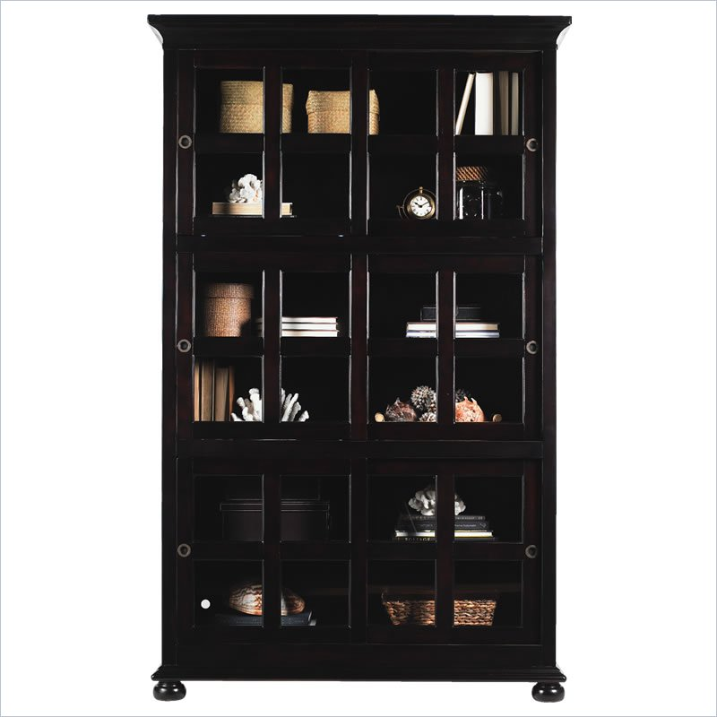 Barrister Bookcase With 6 Sliding Glass Doors In Midnight Brown Finish