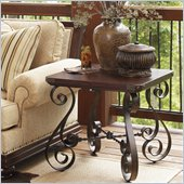 Lexington Fieldale Lodge Littleton End Table in Distressed Brown Mahogany
