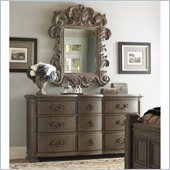 Lexington La Tourelle Chateaux Dresser and Mirror Set in Aged Mocha Brown
