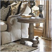 Lexington La Tourelle Breton Pedestal Lamp Table in Aged Mocha Brown