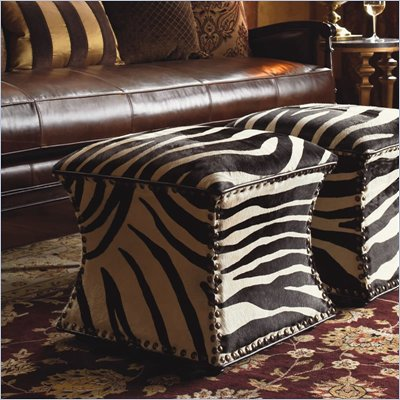 Lexington Barclay Square Mercer Ottoman in Black and White