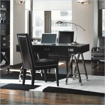 Lexington Black Ice Titanium Wood Writing Desk in Carbon Black