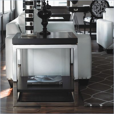 Lexington Black Ice Tungsten End Table in Carbon Black
