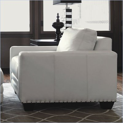 Lexington Black Ice Sapphire Leather Chair in White