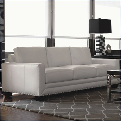 Lexington Black Ice Sapphire Leather Sofa in White