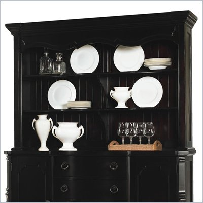 Lexington Long Cove Sag Harbor Lighted 2 Shelf Buffet Hutch with Midnight Brown Wood Finish