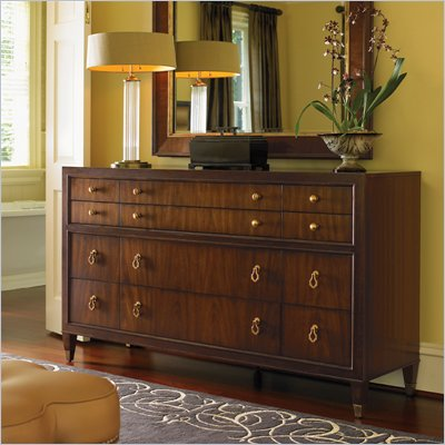 Lexington St.Tropez Villa Triple Dresser in Rich Walnut Brown