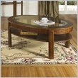 ADD TO YOUR SET: Somerton Fashion Trend Oval Glass Top Wood Cocktail Table in Brown Finish
