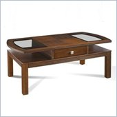 Somerton Gracious Living Oval Wood and Glass Cocktail Table in Dark Walnut