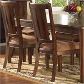 Somerton Rhythm Fabric Dining Side Chair in Burnished Rum Finish