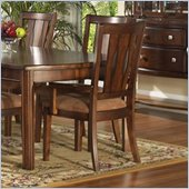 Somerton Rhythm Fabric Dining Arm Chair in Burnished Rum Finish