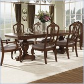 Somerton Melbourne Traditional Pedestal Formal Dining Table in Warm Brown Finish