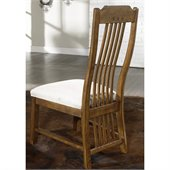 Somerton Craftsman Mission Fabric Dining Side Chair in Brown Finish