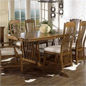Somerton Craftsman Mission 7 Piece Dining Set in Brown Finish