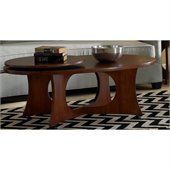 Somerton Manhattan Modern Art Oval Cocktail Wood Table in Coffee Brown