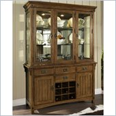 Somerton Craftsman Buffet and Hutch Set in Brown Finish