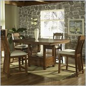 Somerton Craftsman Bar Table 5 Dining Piece Set in Brown Finish