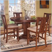 Somerton Runway Gathering Bar Table 5 Piece Pub Set in Warm Brown