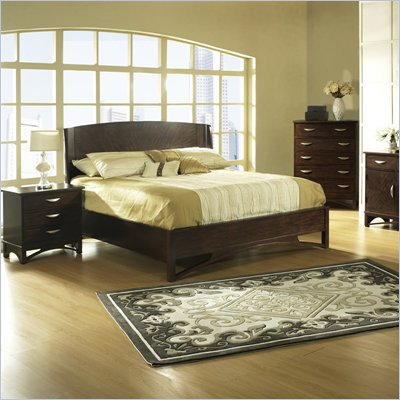 Somerton Cirque Wood Panel Bed 5 Piece Bedroom Set in Merlot