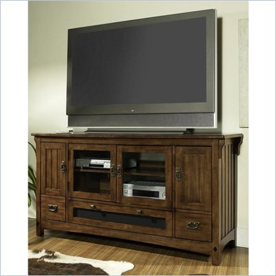 Somerton Craftsman TV Console in Warm Brown Finish