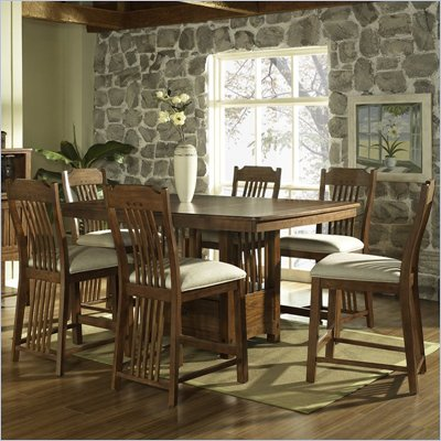 Somerton Craftsman Bar Table 7 Piece Dining Set in Brown Finish