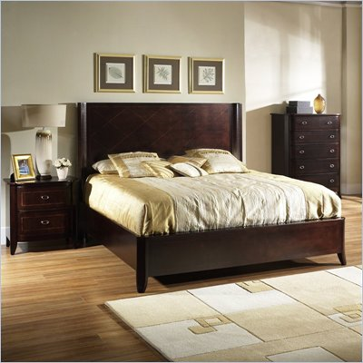 Somerton Crossroads Wood Panel Bed 3 Piece Bedroom Set in Burnished Brown