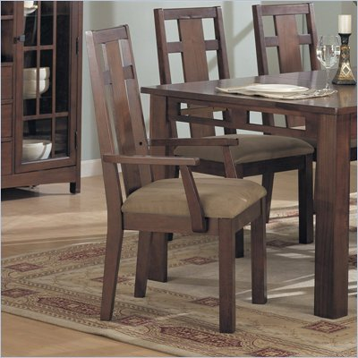 Somerton Enchantment Fabric Dining Arm Chair in Rich Cappuccino Finish