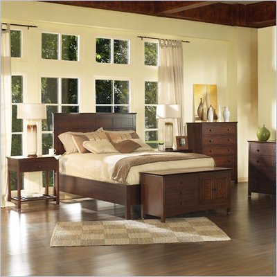 Somerton Enchantment Wood Panel Bed 3 Piece Bedroom Set in Cappuccino