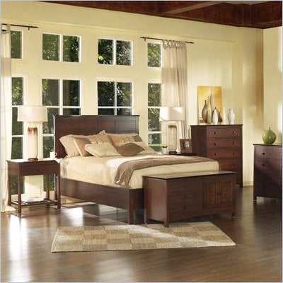 Somerton Enchantment Wood Panel Bed 4 Piece Bedroom Set in Rich Cappuccino