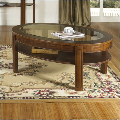 Somerton Fashion Trend Oval Glass Top Wood Cocktail Table in Brown Finish
