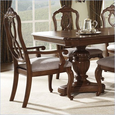 Somerton Melbourne Traditonal Fabric Dining Arm Chair in Warm Brown Finish