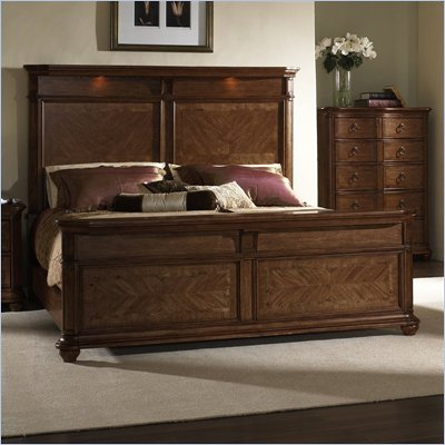Somerton Melbourne Wood Panel Bed 4 Piece Bedroom Set in Warm Brown