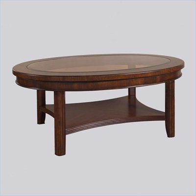 Somerton Oval Rhythm Wood Top Cocktail Table in Burnished Rum