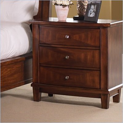 Somerton Runway 3 Drawer Night Stand in Warm Brown