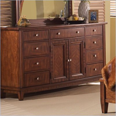 Somerton Runway 9 Drawer Triple Dresser in Warm Brown