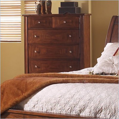 Somerton Runway 5 Drawer Chest in Warm Brown Finish