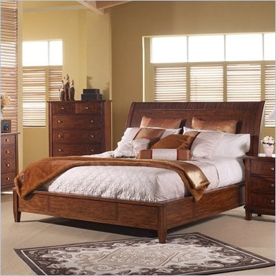 Somerton Runway Contemporary Sleigh Bed in Warm Brown Finish