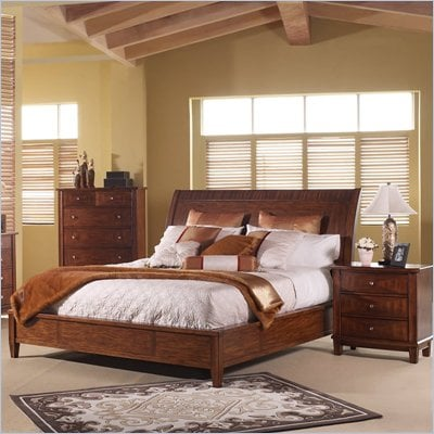 Somerton Runway Wood Sleigh Bed 4 Piece Bedroom Set in Warm Brown