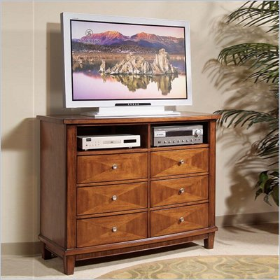Somerton Runway Contemporary Media Chest in Warm Brown