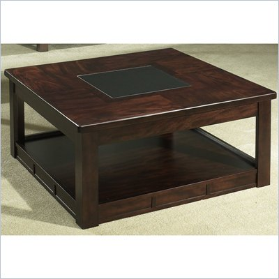 Somerton Serenity Square Wood Cocktail Table in Burgundy
