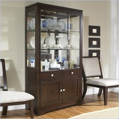 Somerton Shadow Ridge Modern China Display Cabinet in Chocolate