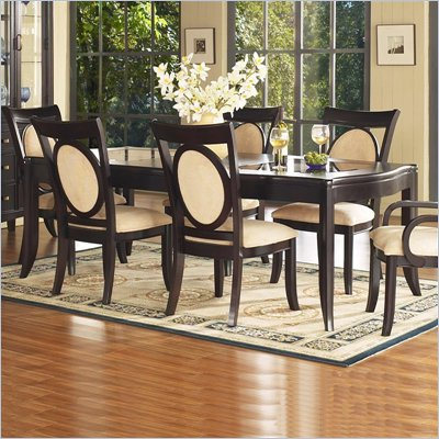 Somerton Signature Rectangular Glass Top Table in Mocha Finish