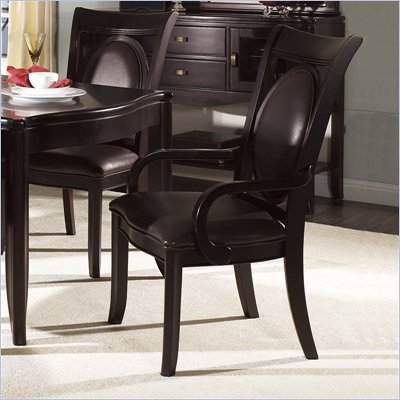 Somerton Signature Bicast Leather Dining Arm Chair in Deep Mocha Brown Finish
