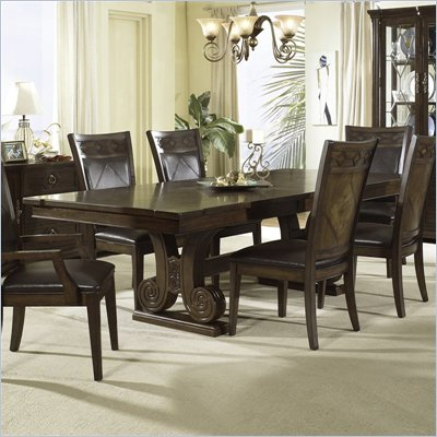 Somerton Villa Madrid Pedestal Formal Dining Table in Dusk Brown Finish